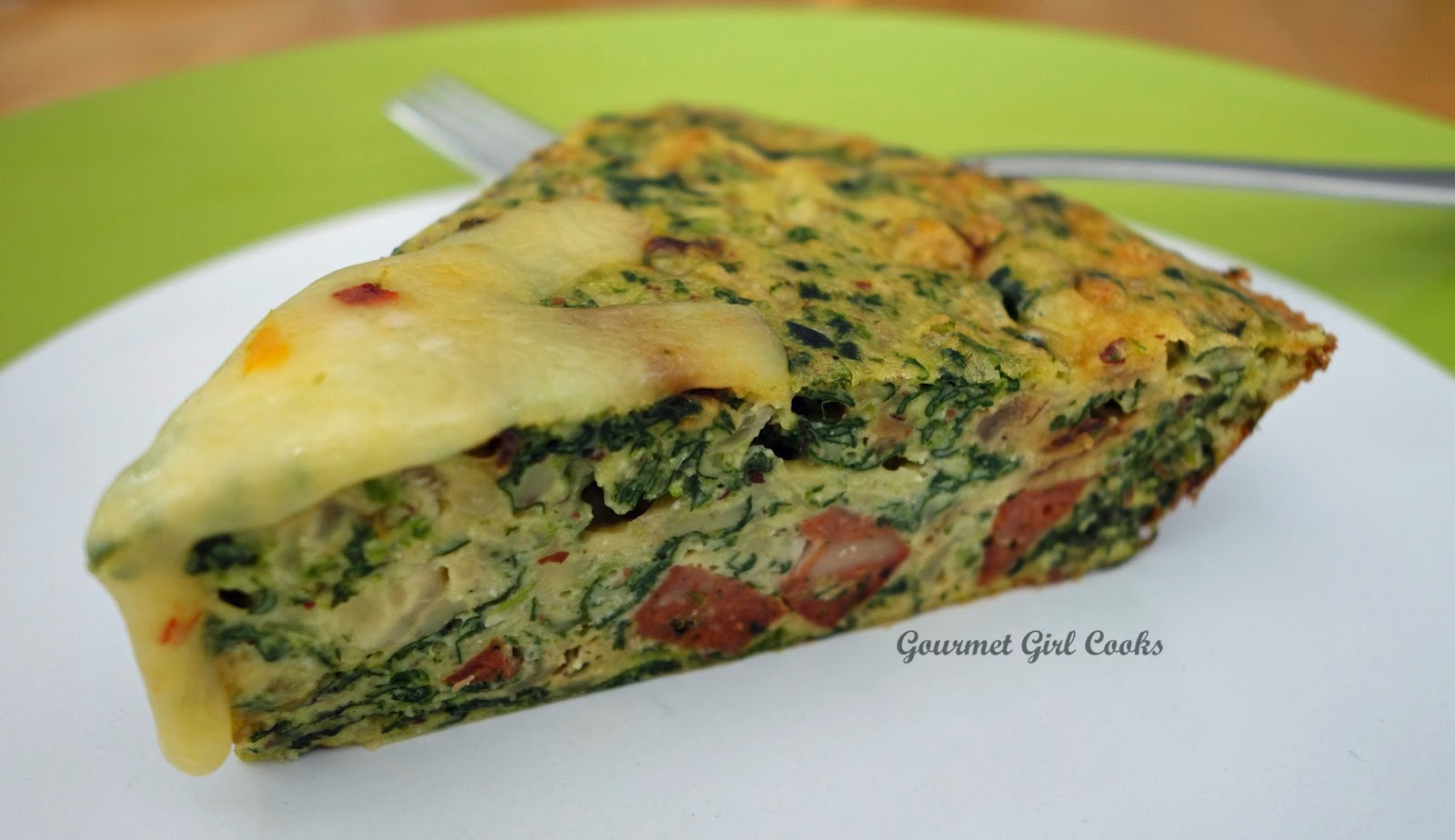Gourmet Girl Cooks: Spicy Sausage & Spinach Pie -- Low Carb & Wheat ...