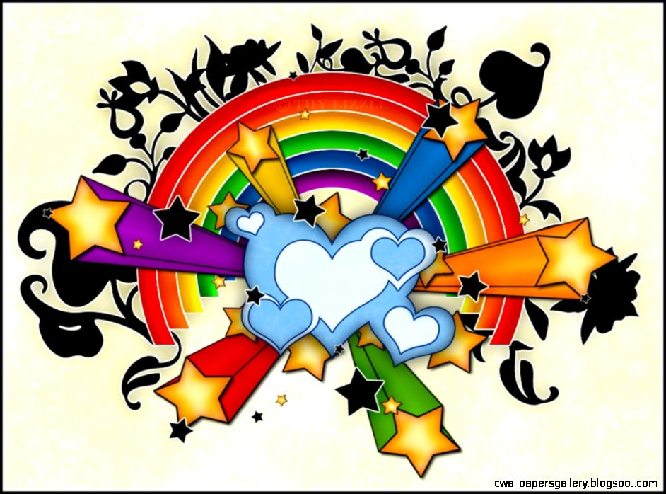 Hearts Stars Rainbow Wallpapers in jpg format for free download