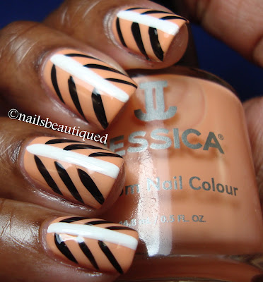 Tribal Peach Nail Design