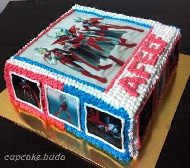 Ultraman Cake Themed Happy Birthday Afeef cupcake huda