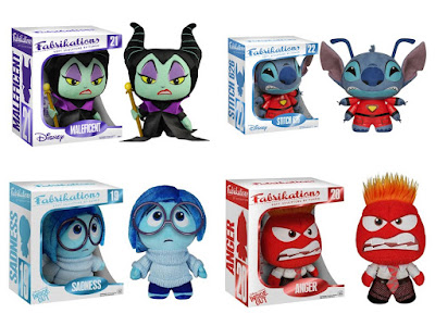 New Disney Fabrikations Plush Figures by Funko - Sleeping Beauty's Maleficent, Lilo & Stich's Experiment 626 & Inside Out's Sadness & Anger