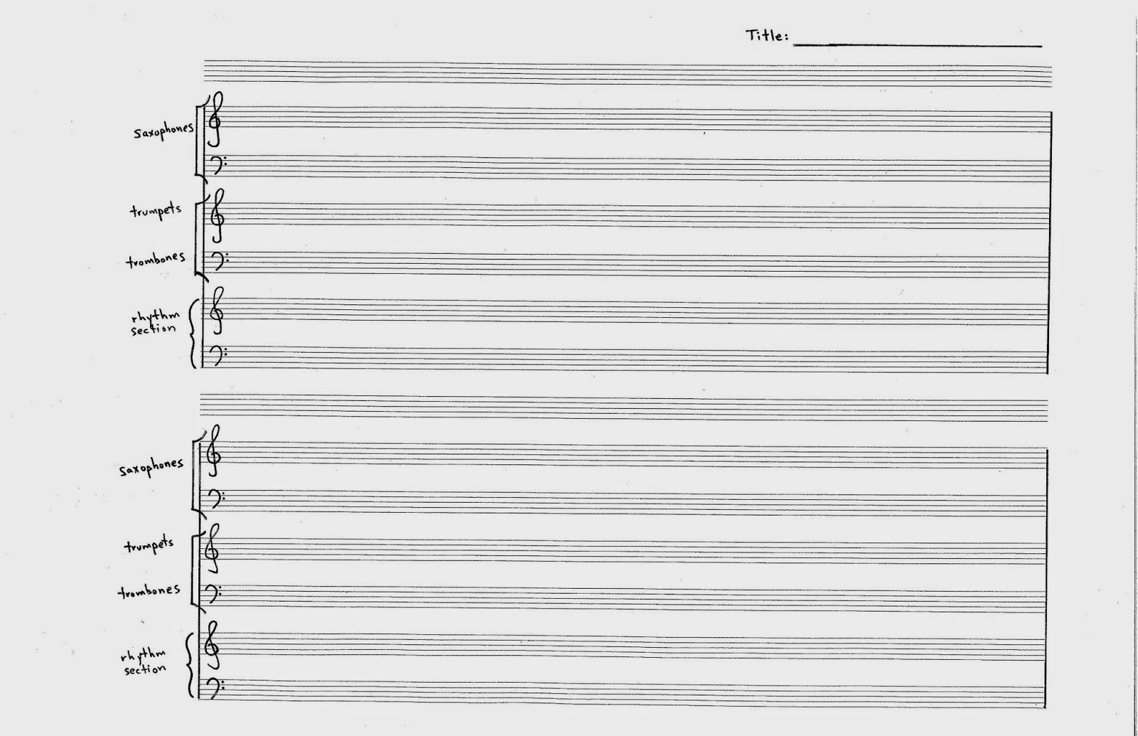 big band score paper