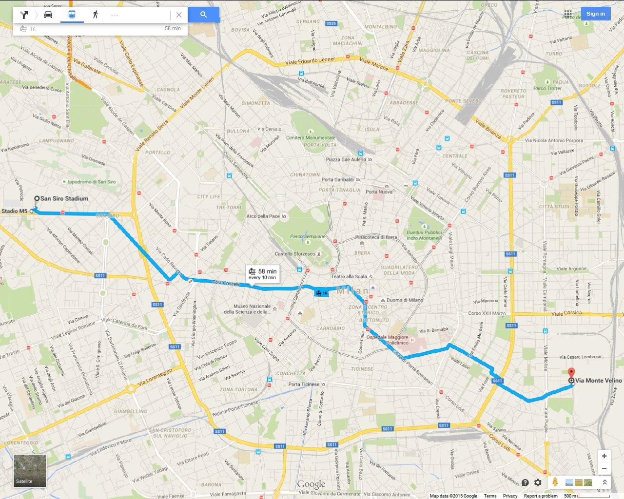 Milan finally Tram 16 direct to the San Siro Stadium passing the
