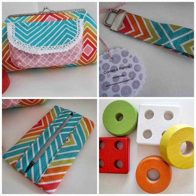 bolsa c/ fecho metálico, porta chaves e porta lenços papel em tecido