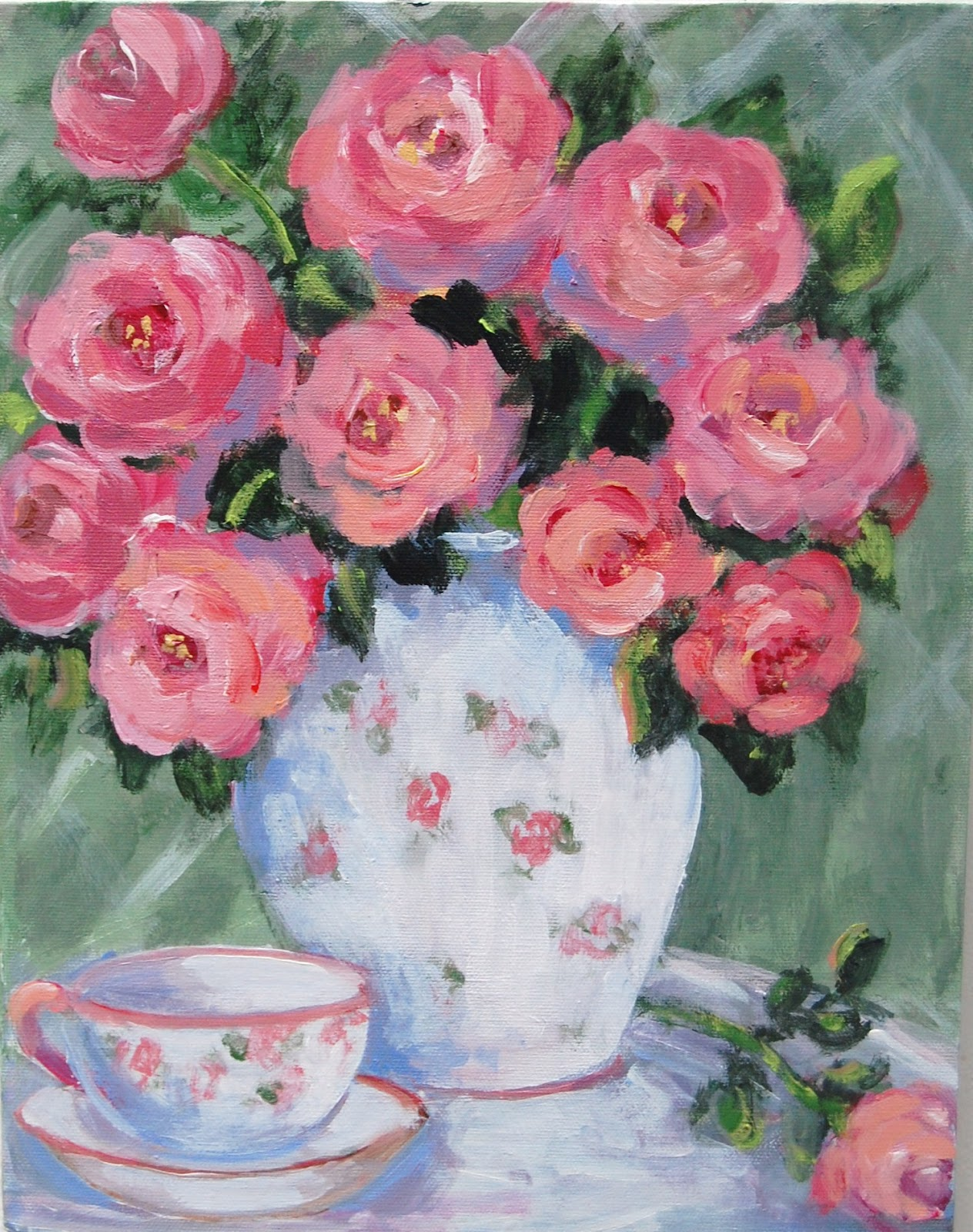 My painted garden painting pink roses mightylinksfo