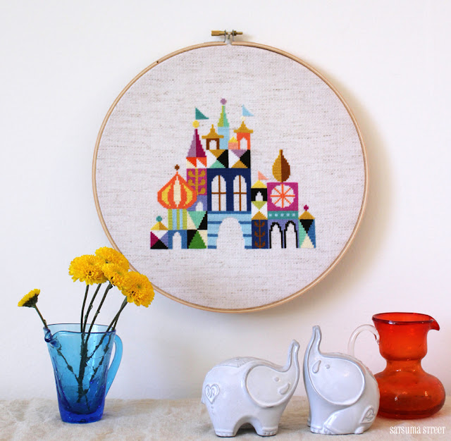 Satsuma Street modern cross stitch pattern Pretty Little City Mary Blair Inspired