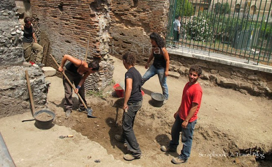 Young archaeologists at work near the Colosseum Rome Italy