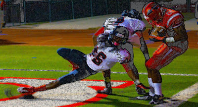 color pencil sketch of a highschool touchdown