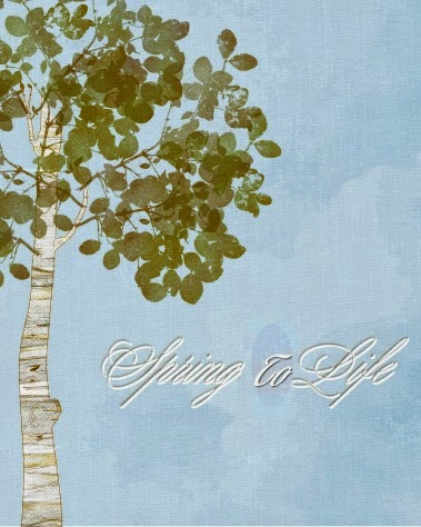 Spring To Life Free Printable, Birch Tree, Green Leaves, White, Light Blue, Shades of Green