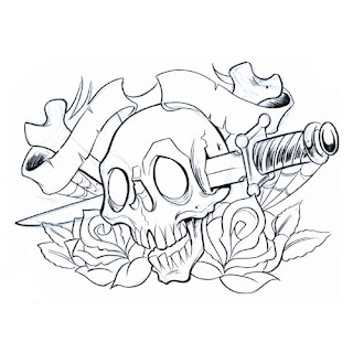 Dagger and Skull Tattoo Design