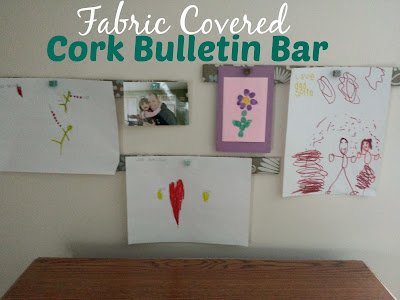 fabric covered cork bulletin bar