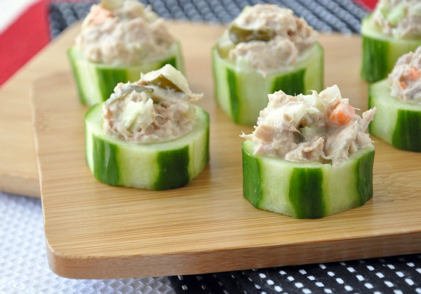 Veggie Tuna Salad Cucumber Cups
