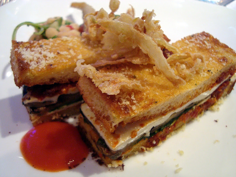 Starter: Grilled Vegetable Croque Monsieur - eggplant, sundried tomato ...
