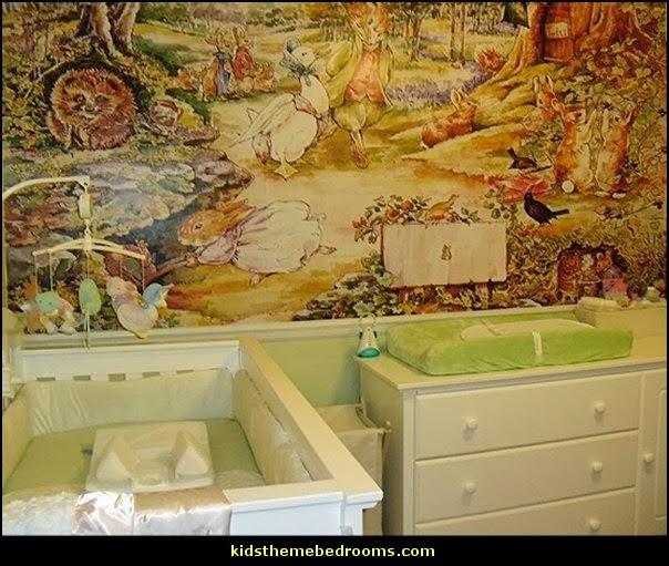 Decorating theme bedrooms maries manor peter rabbit for Beatrix potter mural