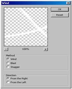 Menggunakan teknik filter stylize wind