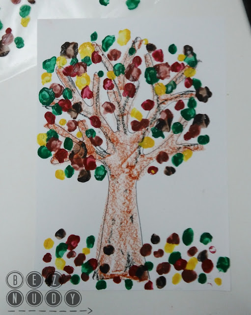 jesienne drzewo, praca plastyczna dla dzieci
