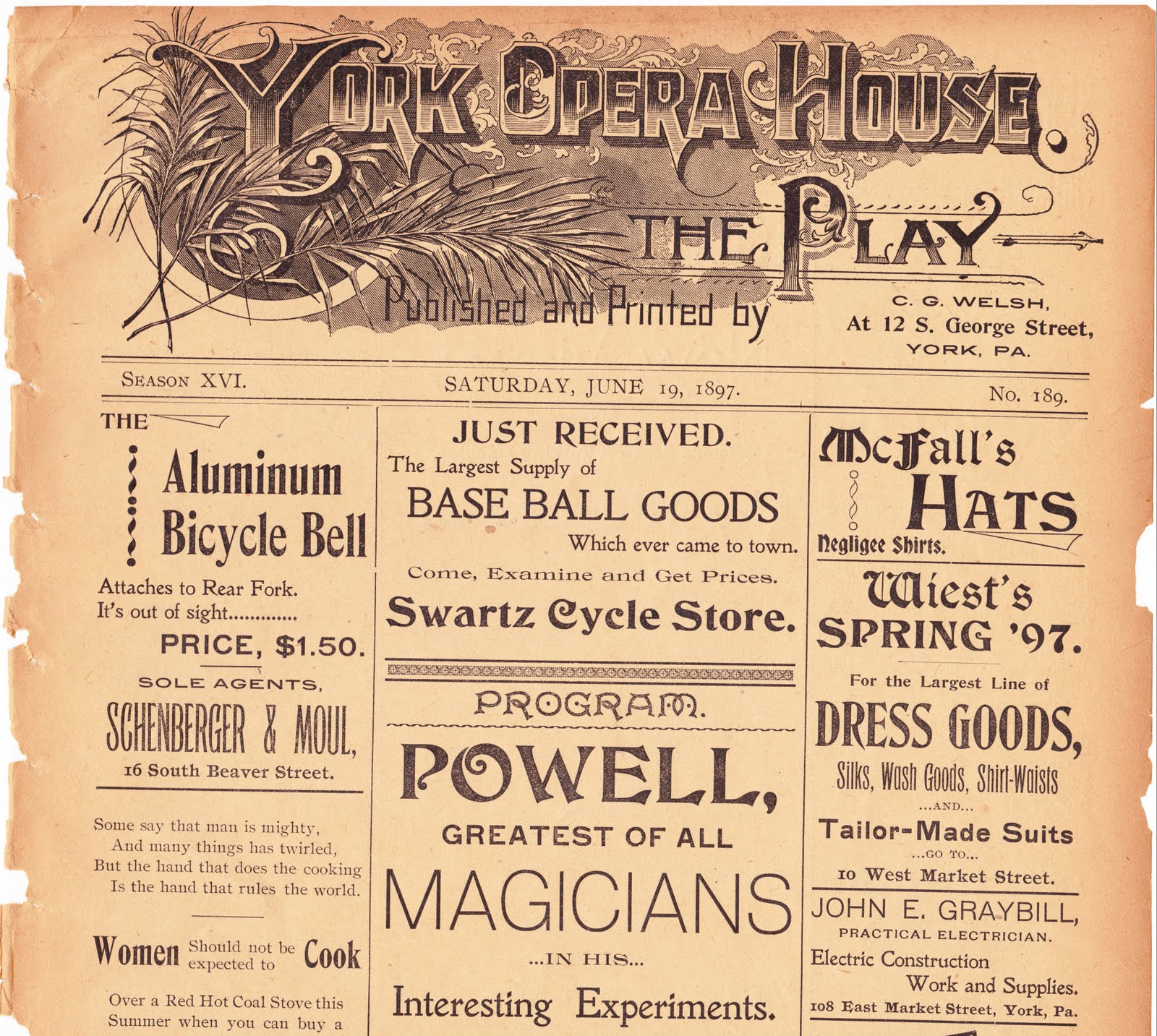 Papergreat: 1897 York Opera House program, Part 1