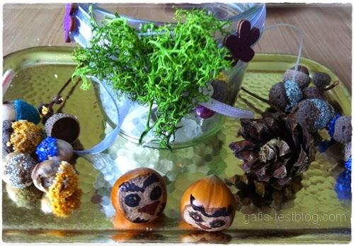 Herbstdeko - Haselnusseulen