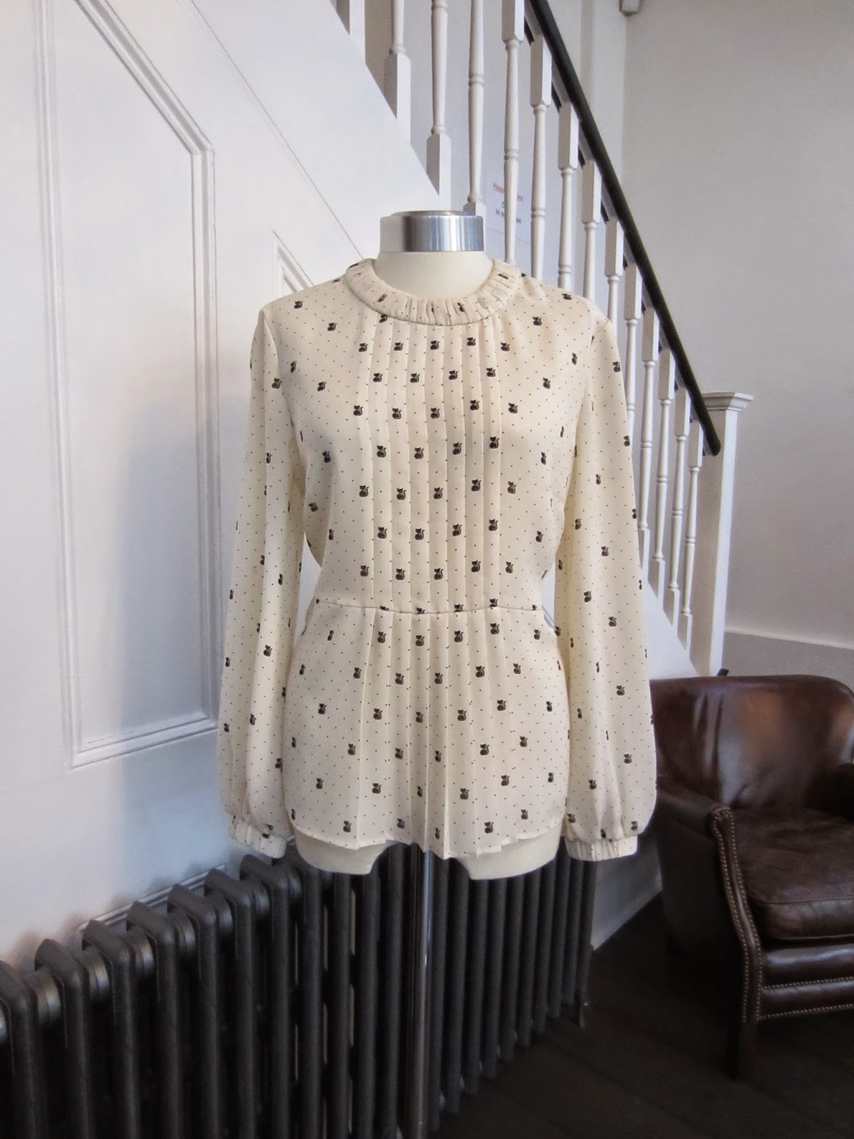 Orla Kiely Cream Blouse with Black Cat Print
