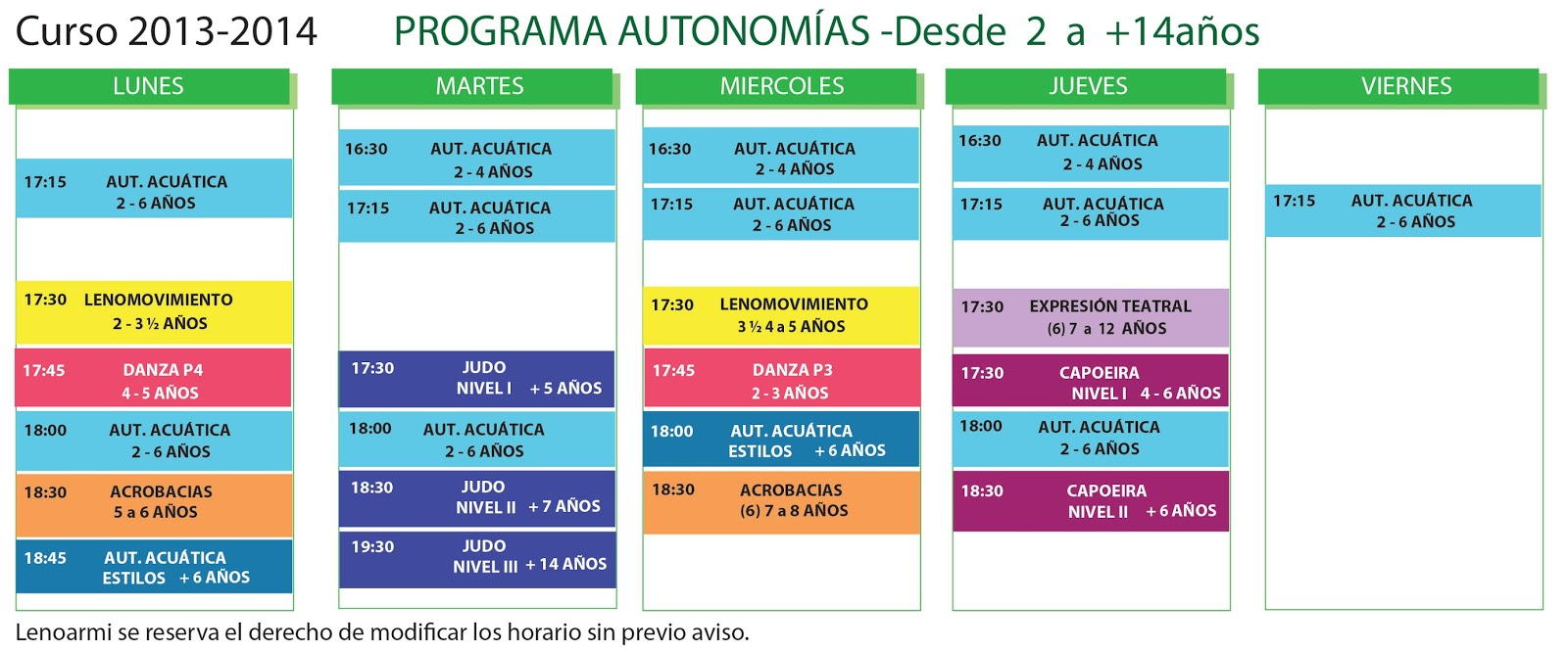 Lenoarmi Blog: HORARIOS DE ACTIVIDADES DEL CURSO 2013-2014