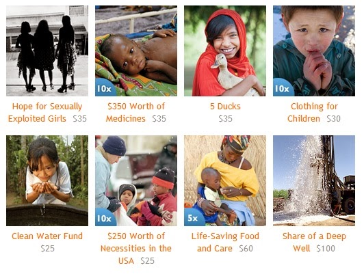 World Vision gift catalog gifts