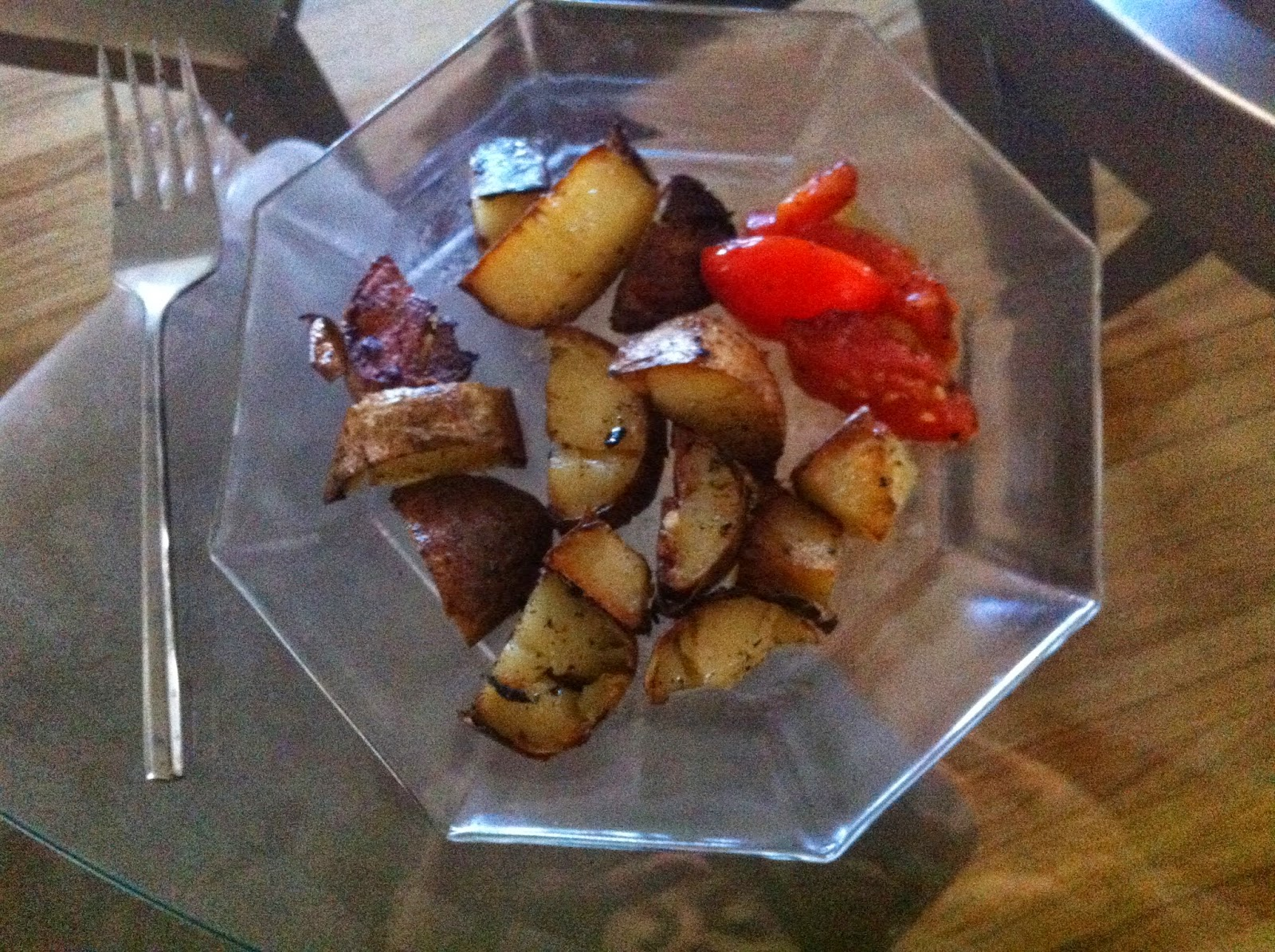 $0.26 breakfast, a small fried potato and tomato