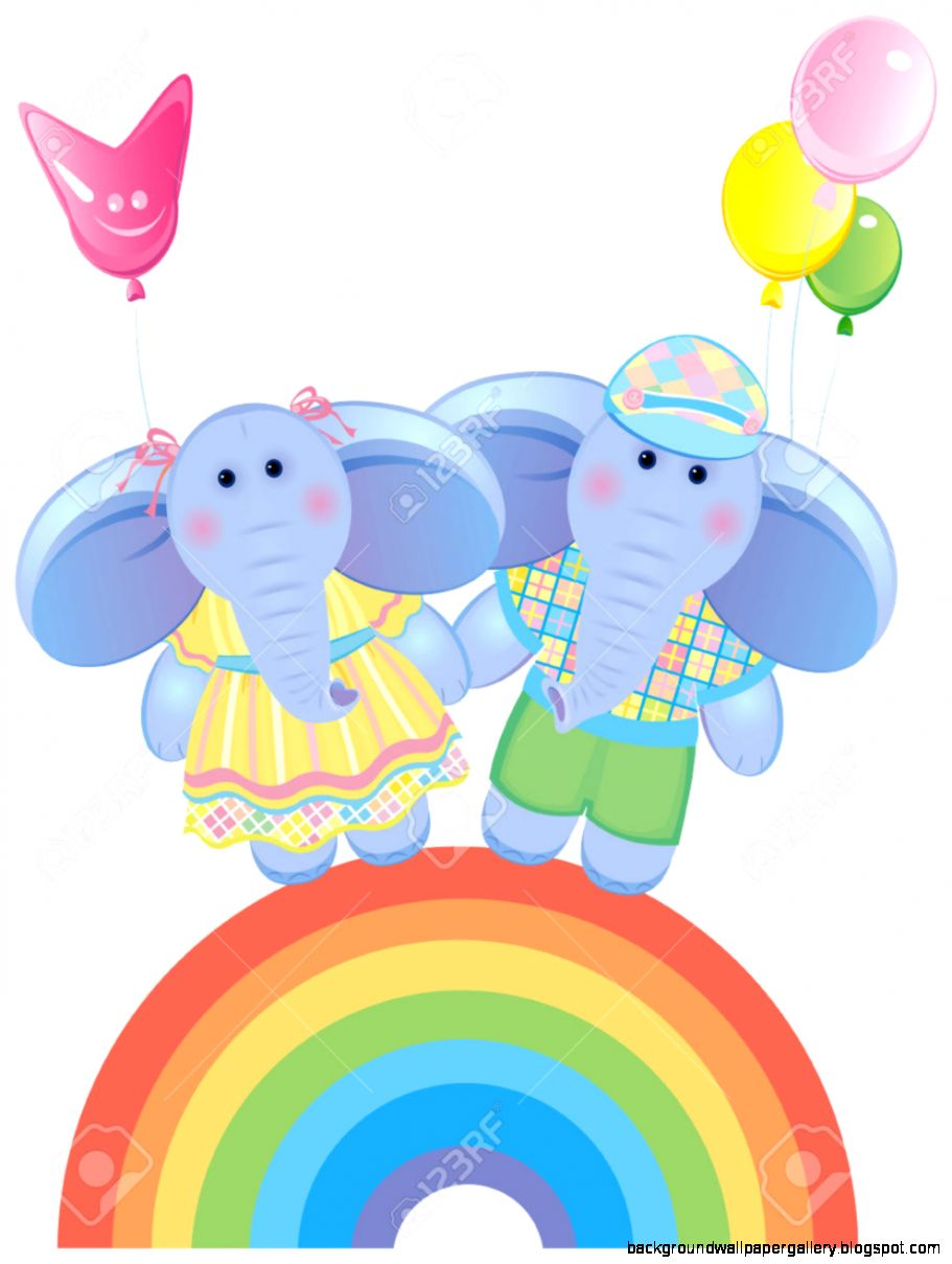 Cute Elephant Rainbow Vector Wallpaper
