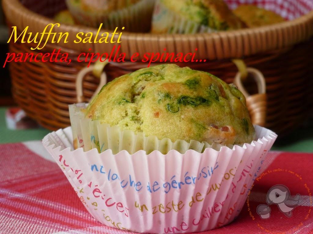 muffins salati pancetta, cipolla e spinaci da gusto sano per il cesto del pic-nic di alice...