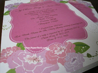 Pink purple Pastel peonies wedding invitation card