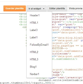 Editor HTML Blogger - Ir al widget