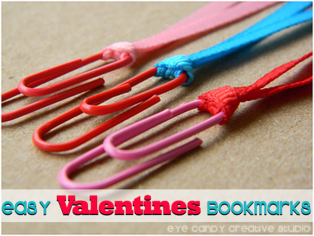 valentines, bookmarks, paperclip craft, kids craft, kids valentines