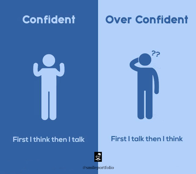 confident people versus overconfident people, think before talk
