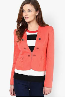 Harpa Orange Solid Winter Jacket