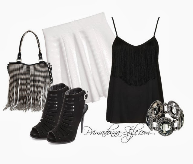 how to wear what to wear with Strappy Fringe Cami Circular Skirt Steve Madden Bfringer Tote Peep Toe Caged Heel Capsule by Cara Stretch Bracelet