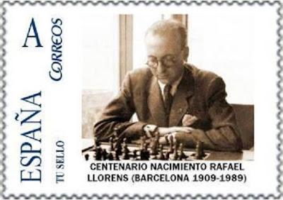 Sello de la FNMT conmemorativo del nacimiento de Rafael Llorens