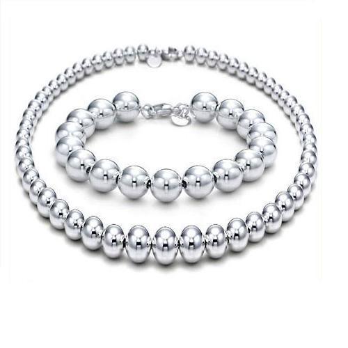 Silver Necklace Bracelet Set