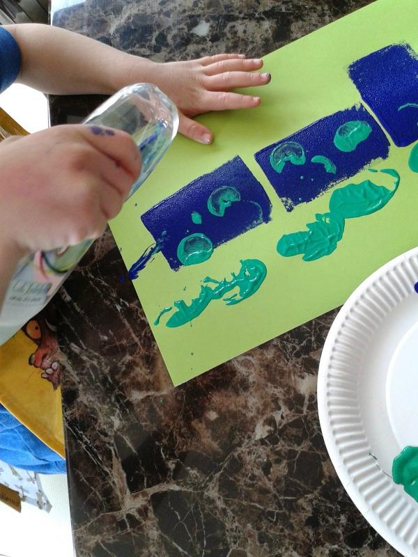 dinosaur sponge painting