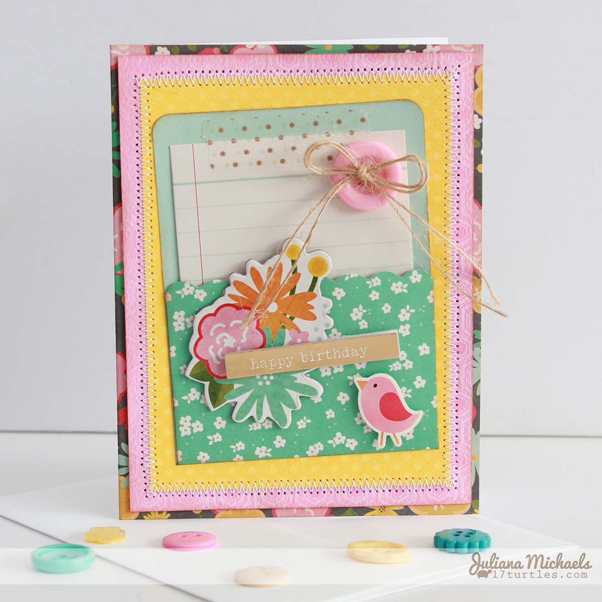 Happy Birthday Bird Card by Juliana Michaels