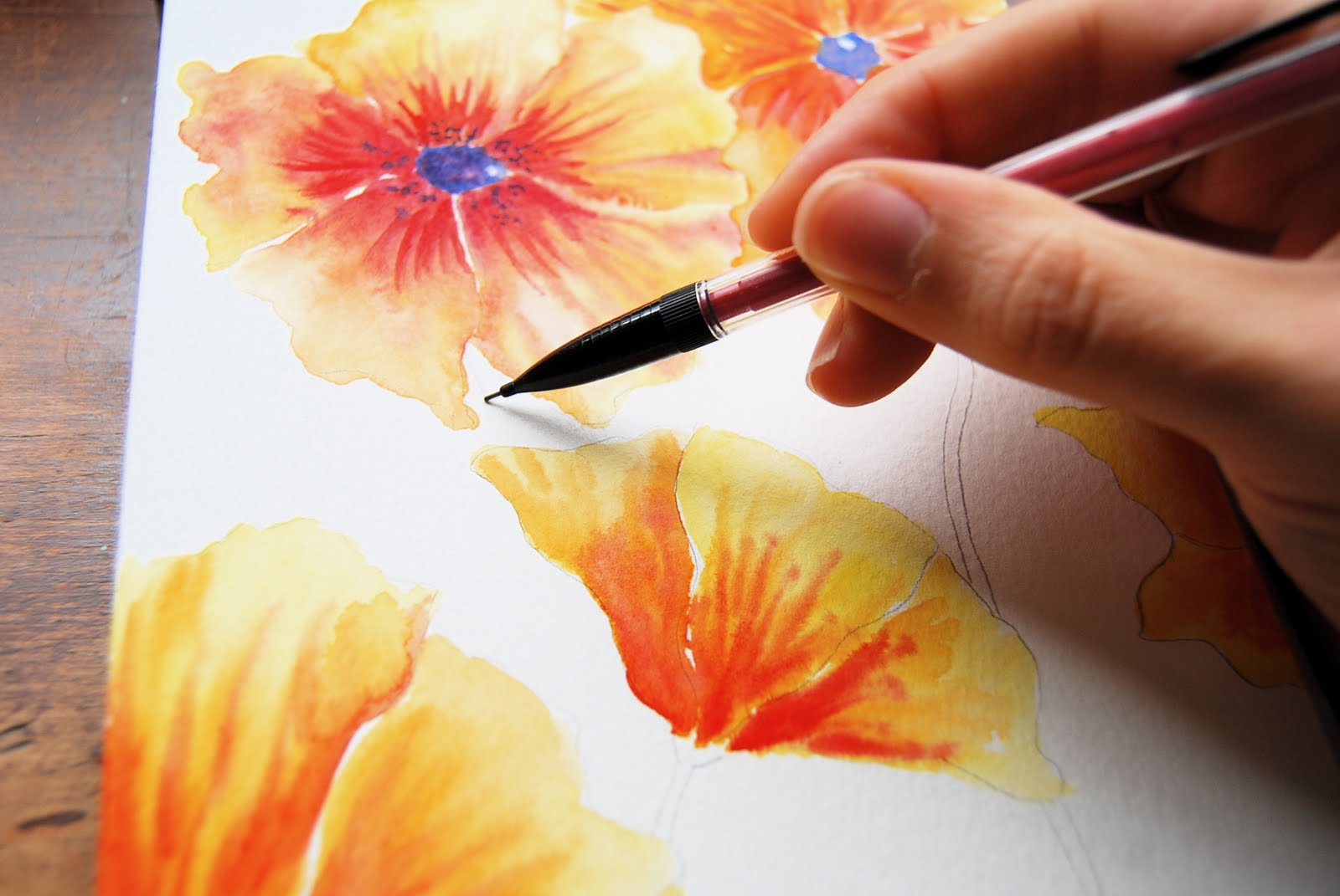 2 then with a pencil draw in your stems i like to do this first because it gives me good foundation upon which to place the leaves - Images Of Flowers To Color 2