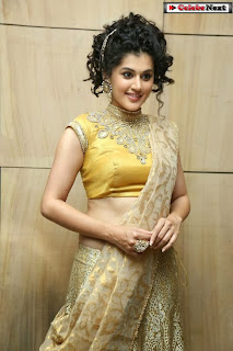 Actress Tapsee Pannu Pictures in Golden Saree at Elite Designer Fashion Show 0016