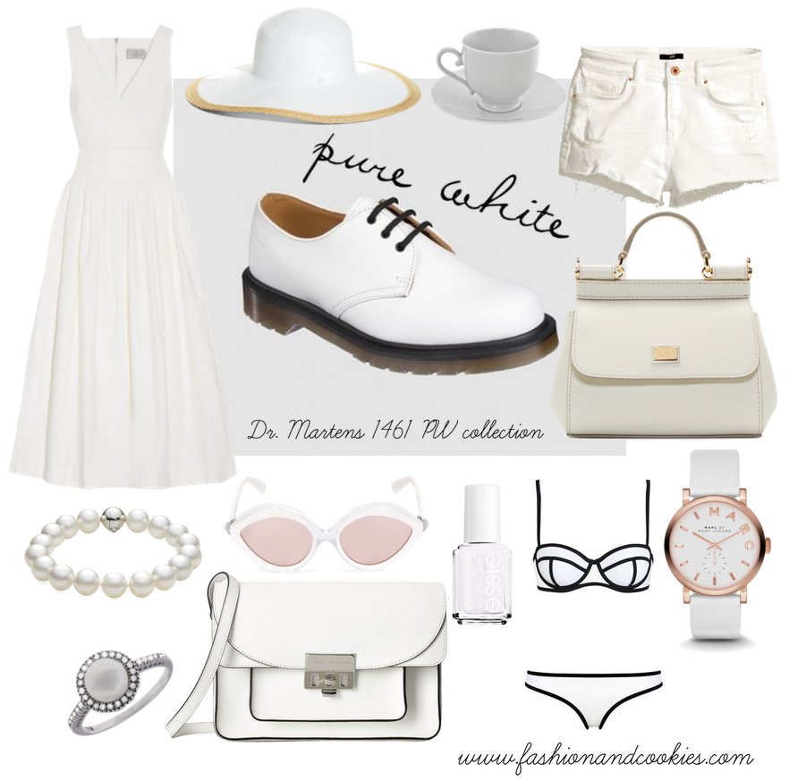 Monochrome white looks with Dr Martens shoes on Fashion and Cookies fashion blog, fashion blogger style