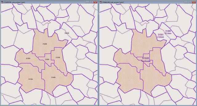 comparaison codes postaux / communes dans MapInfo