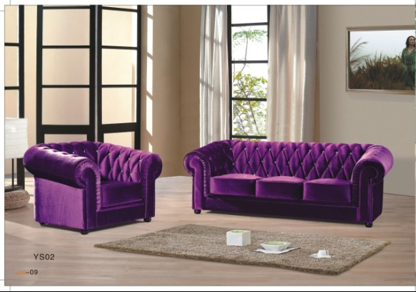 Purple Velvet Chesterfield 3 Seater Sofa And Armchair