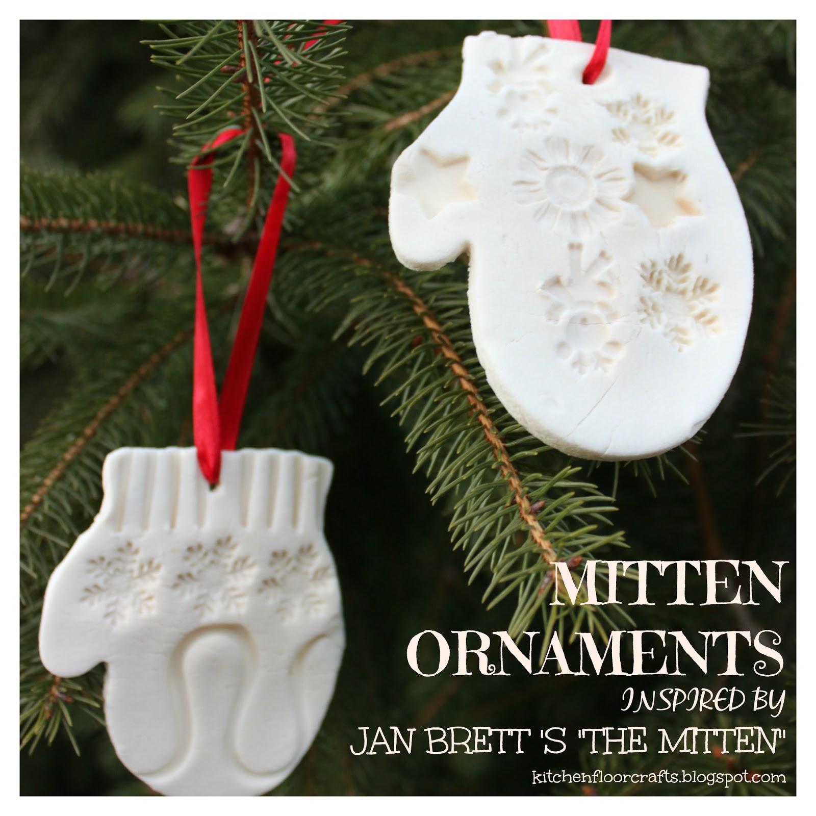 Kitchen Floor Crafts: Mitten Ornaments Inspired by Jan Brett\'s \