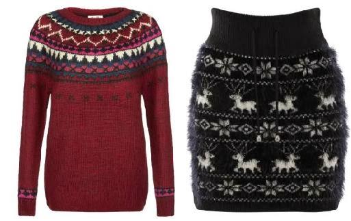 soldes Newlook 2014, pull hiver, jupe en laine, jue courte, jupe tube, jupe de noël, jupe avec des rènes, pull rouge, pull aztèque, pull etnique