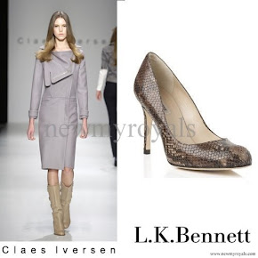 Queen Maxima style Claes Iversen coat jacket and LK Bennett Shoes