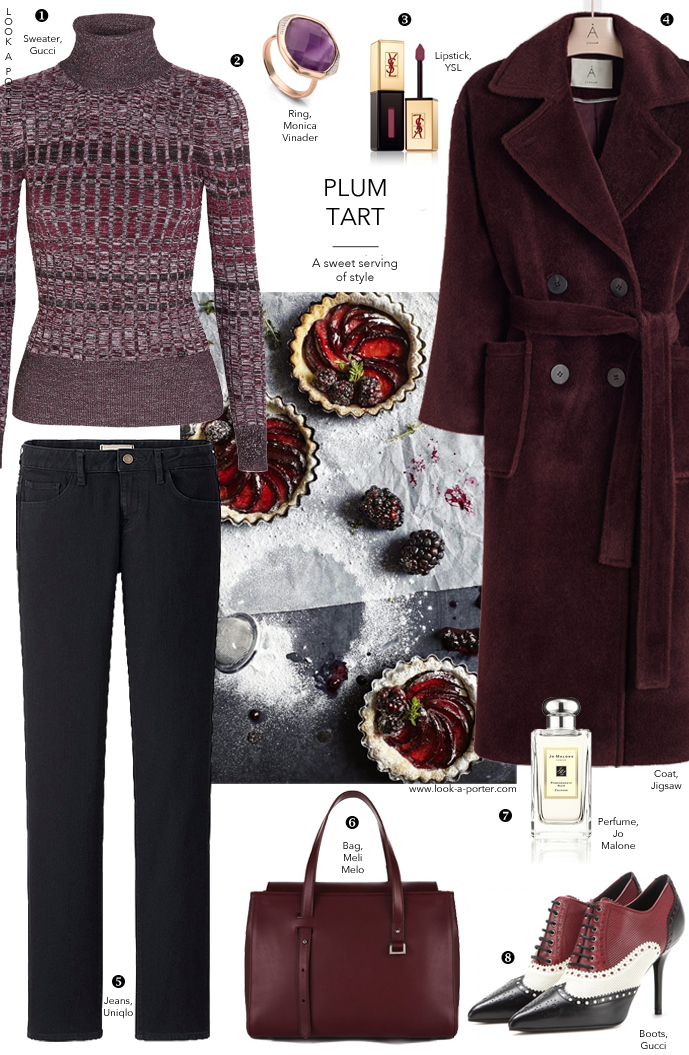 Gucci turtleneck sweater and Uniqlo jeans outfit / Burgundy outfit inspiration via www.look-a-porter.com style & fashion blog