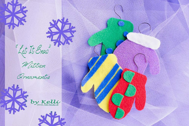 """Let It Snow"" Mitten Ornaments"