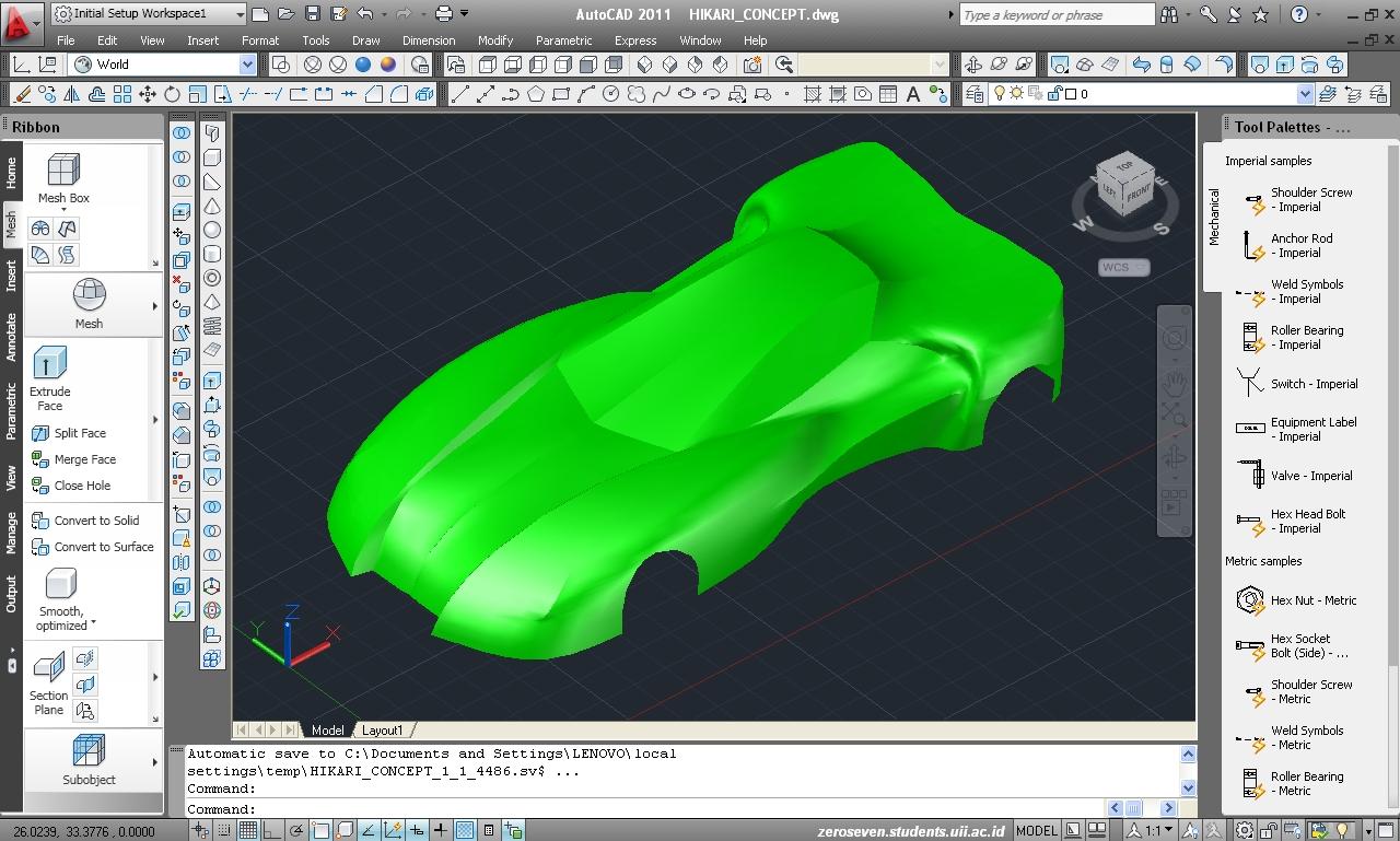 Gambar.1. Model 3 dimensi body mobil di AutoCAD 2011