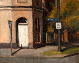 Oil painting of a Victorian-era building on a street corner with various street signs, front fences and trees.